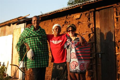 Daniel, Virginia and me (in my new Maasai Kanga)
