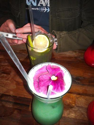 Blue Hawaii, complete with Glowstick and massive flower
